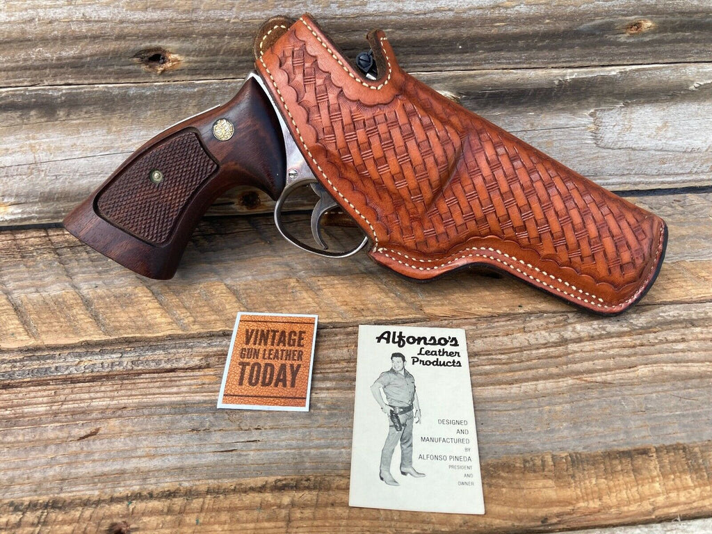 "Alfonsos Brown Basketweave Lined Holster for S&W K Frame 4"" Medium Revolver"