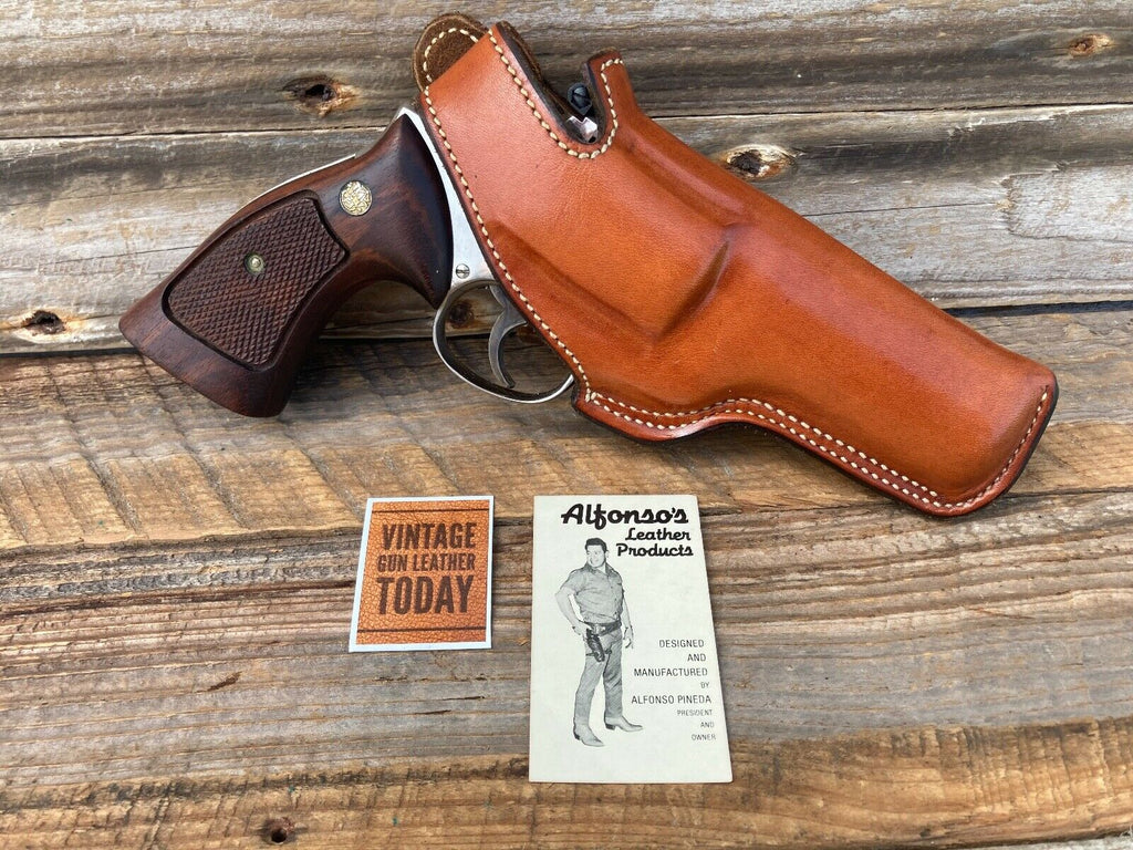 "Alfonso's Plain Brown Leather Lined Holster for S&W K Frame 4"" Medium Revolver"