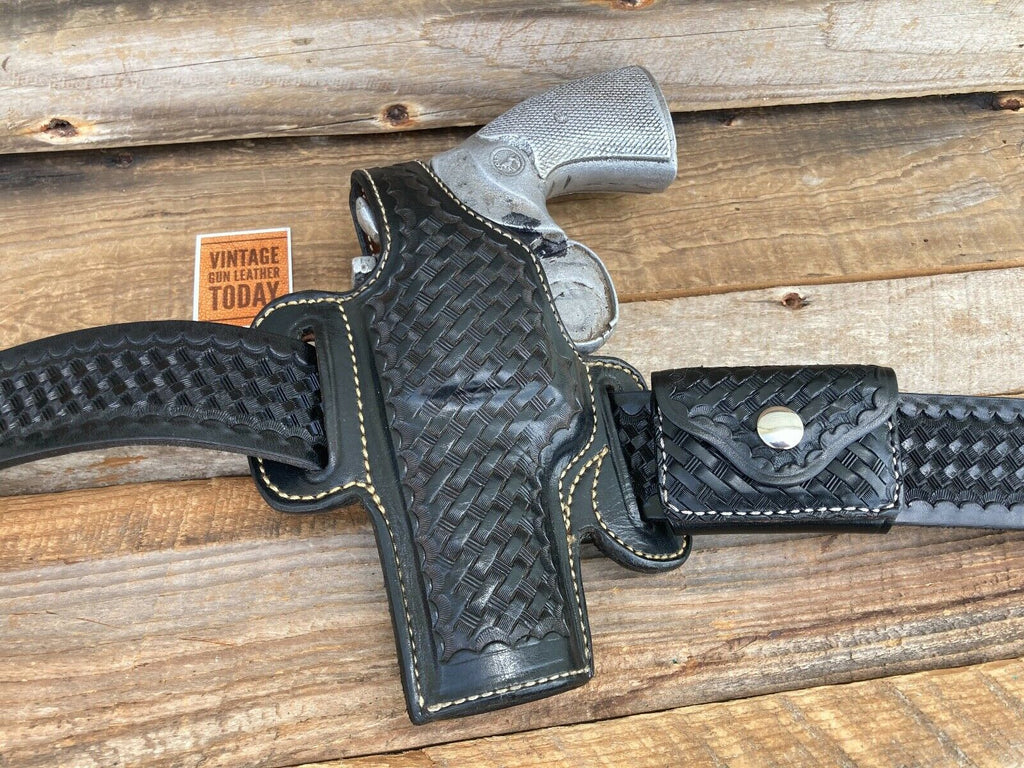 Alfonsos Back Basketweave Leather Lined Holster For Python S&W L Frame Revolver