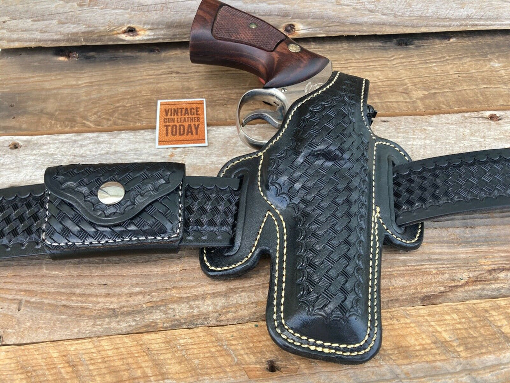 "Alfonsos Black Basketweave Leather OWB Holster for S&W K Frame 4"" Revolver"