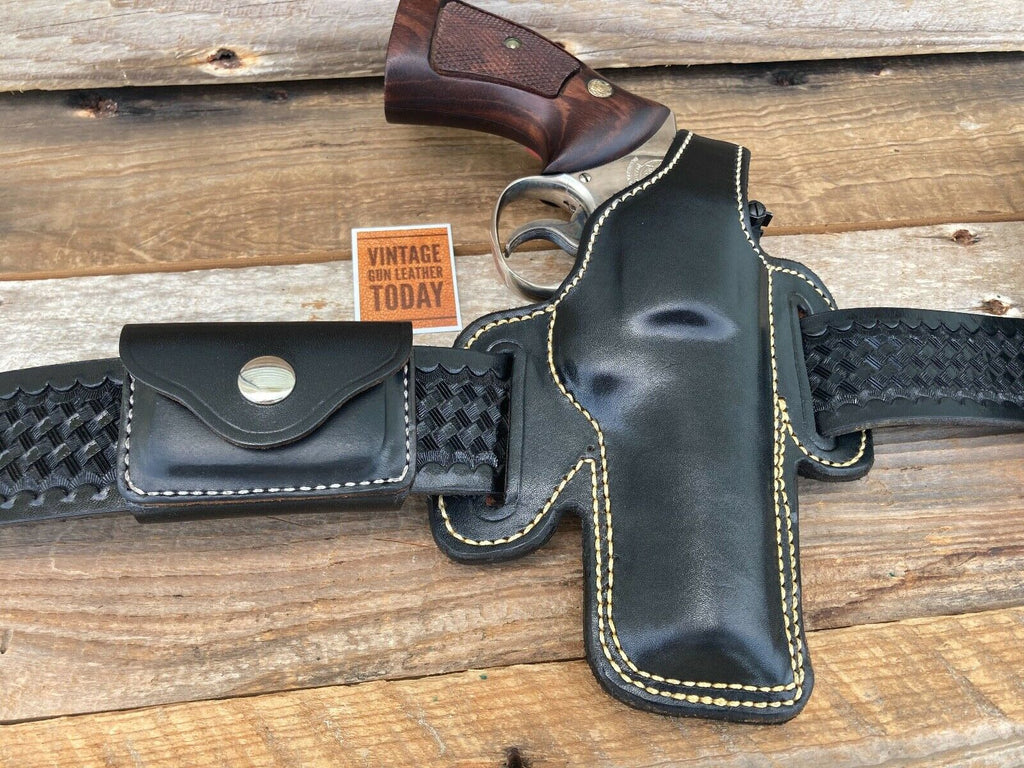 "Alfonsos Thunderbird Black Leather OWB Holster for S&W K Frame 4"" Revolver"