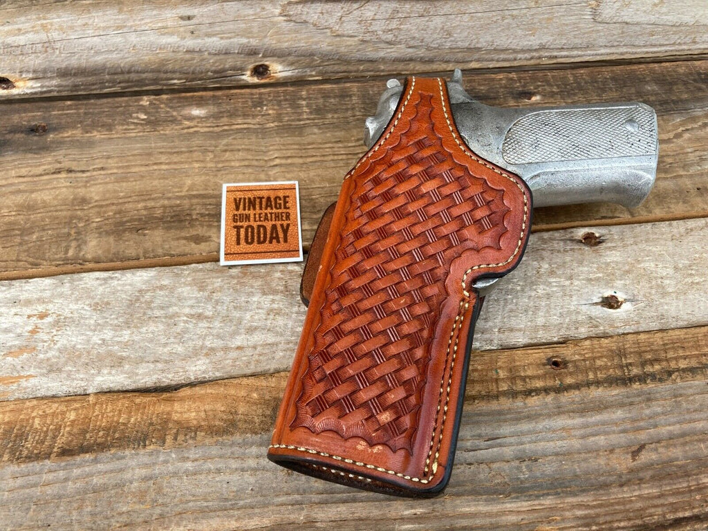 Alfonsos Brown Basketweave Leather Lined Strong / Cross Draw Holster for S&W 59