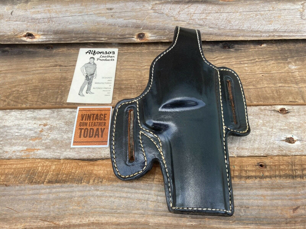 Alfonso's Plain Black leather Holster For Colt Python S&W L Revolver 4""