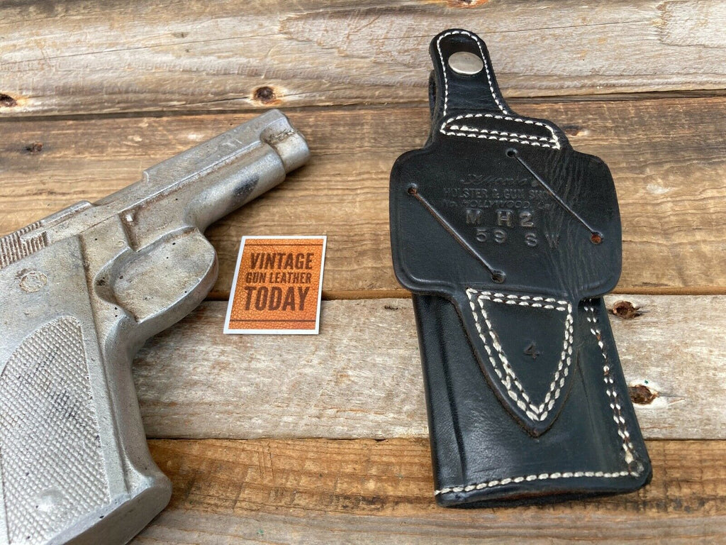 Alfonsos Black Leather Suede Lined Strong / Cross Draw Holster for S&W 59 Right