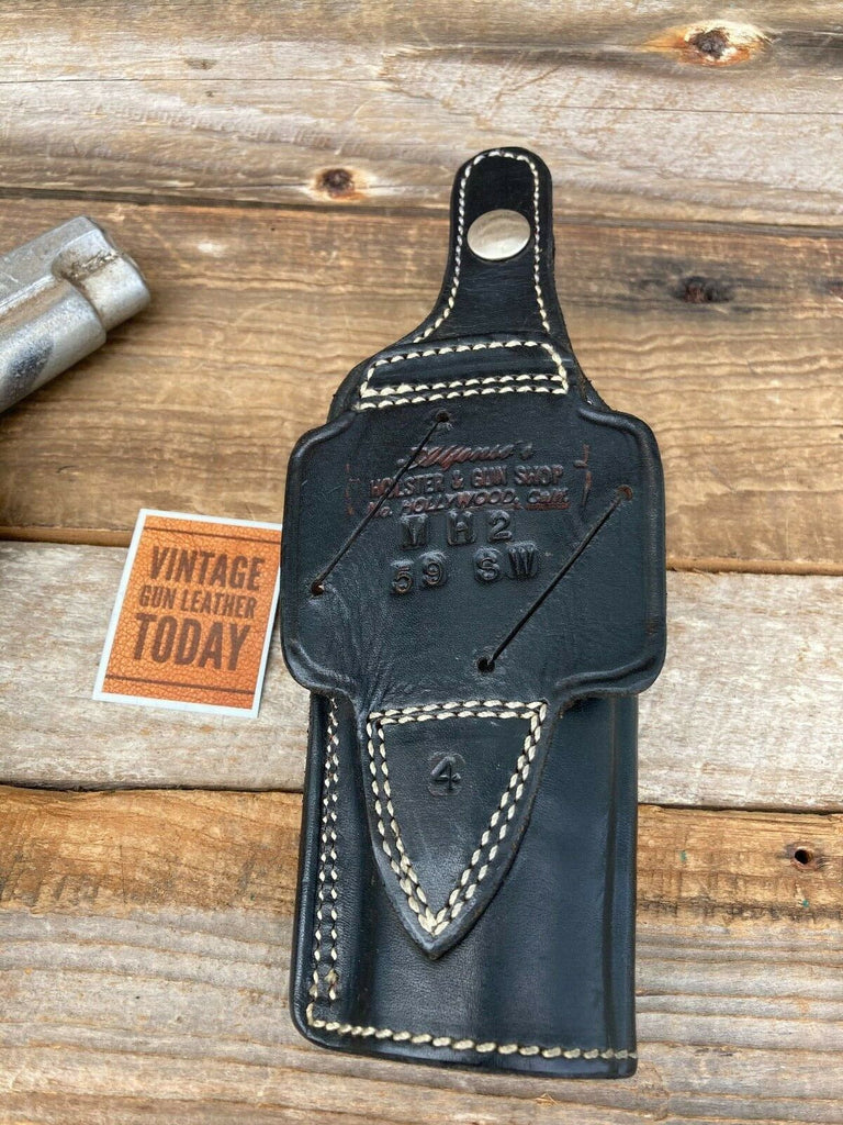 Alfonso's Black Leather Suede Lined Strong / Cross Draw Holster for S&W Model 59