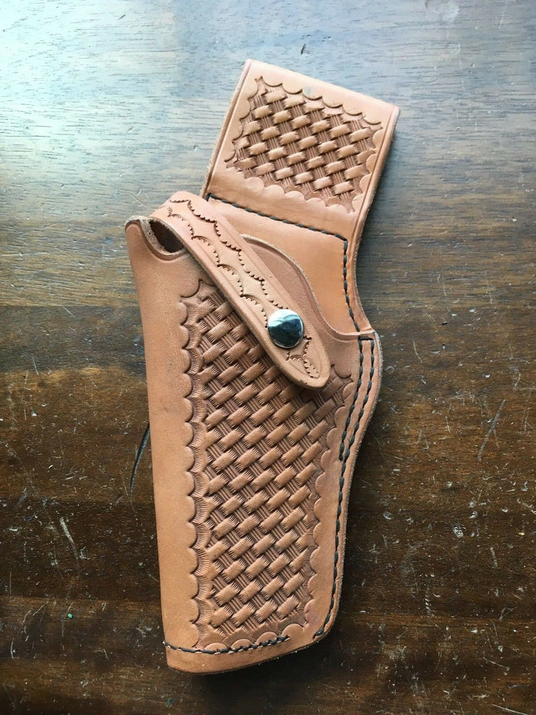 "Vintage Tex Shoemaker 50 Brown Basketweave Leather Holster for S&W K Frame 4""Revolver"