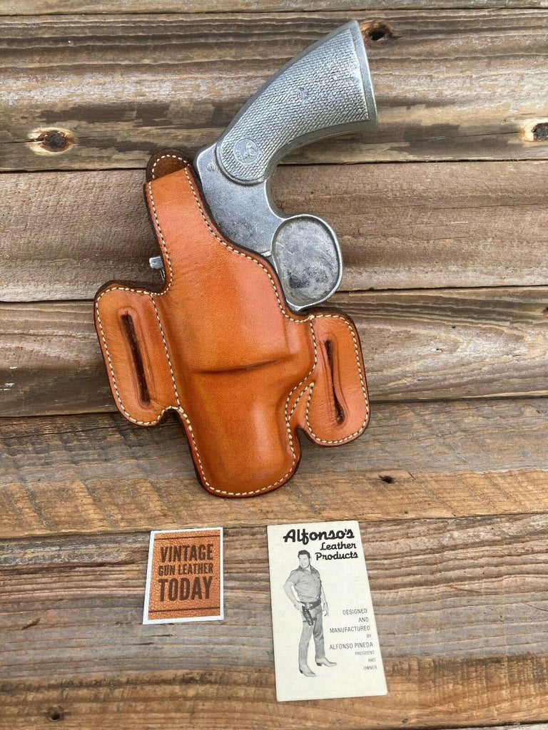 "Alfonso's Brown Plain Leather F60 Lined Holster For Colt Python / L Frame 2.5"" L"