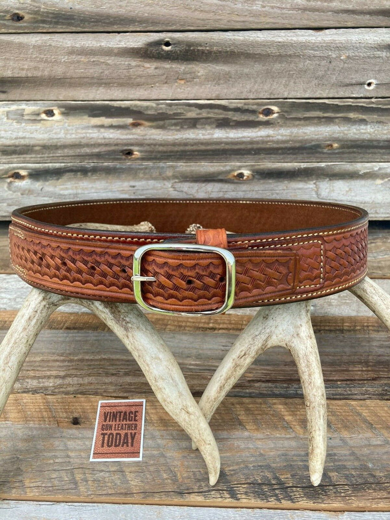 Alfonso's Hand Stamped Leather Suede Lined Pistol Gun Belt Size 34 Western 444