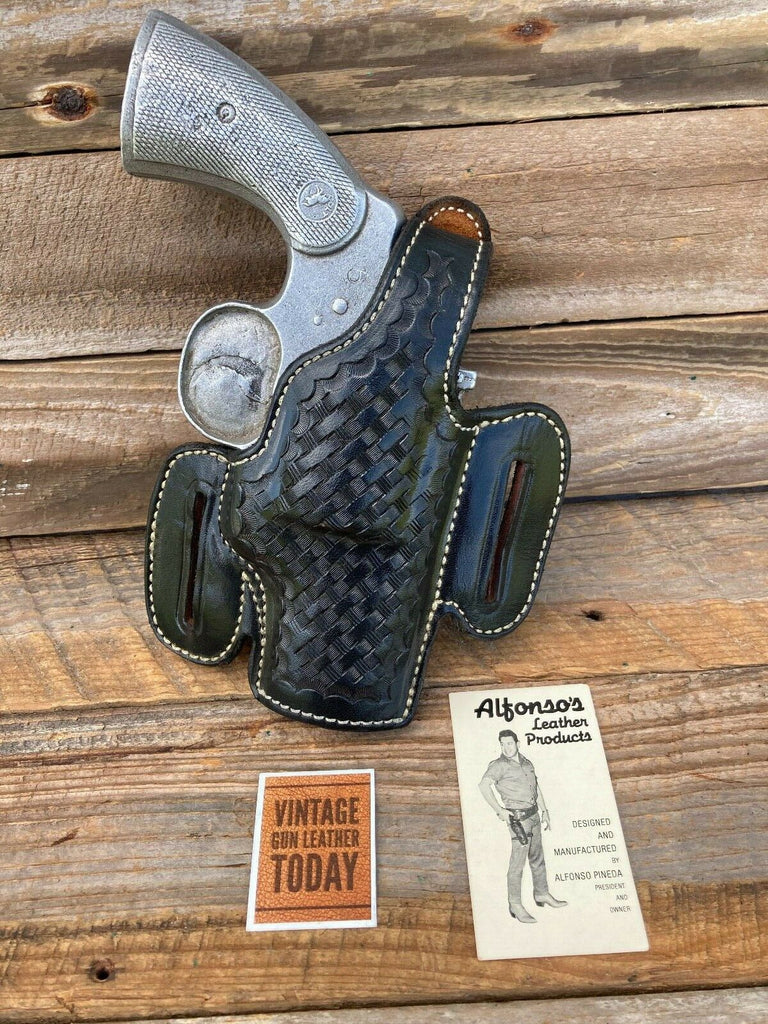 "Alfonso's Black Basketweave F60 Lined Holster For Colt Python L Frame 2.5"" Open"
