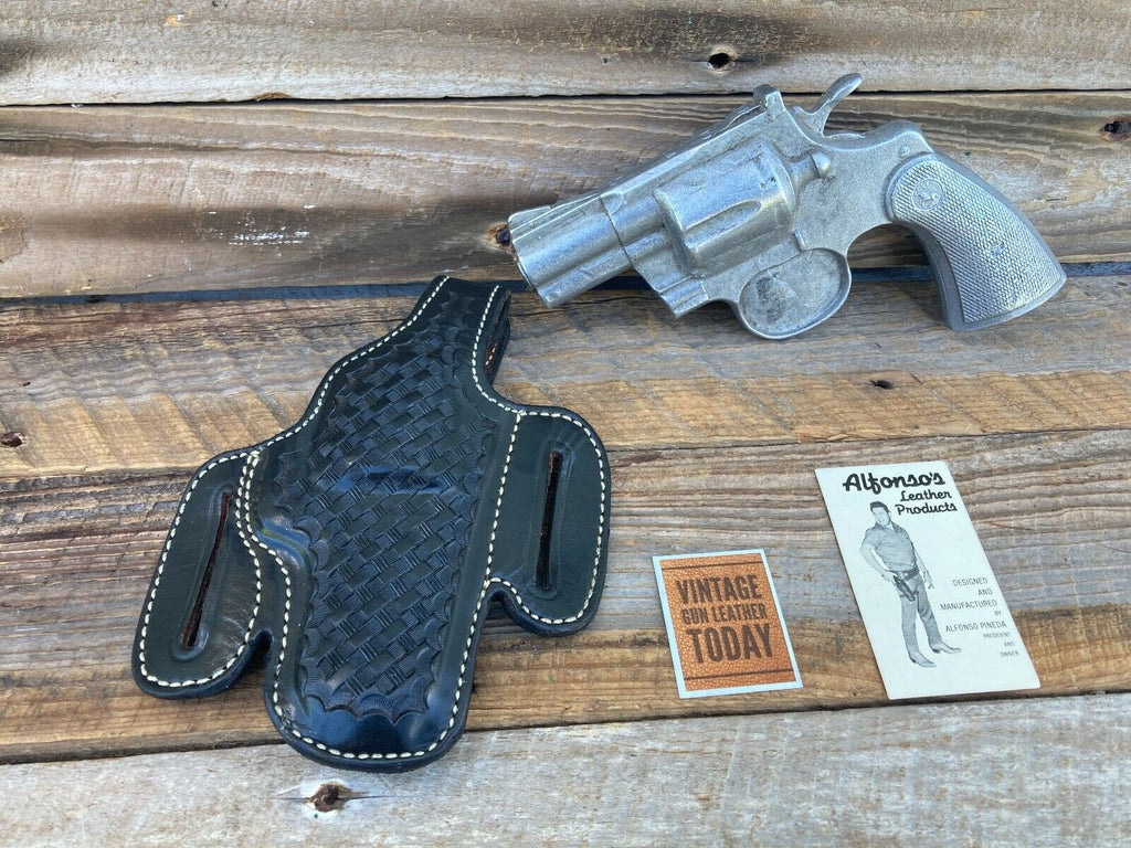 Alfonso's Black Basketweave F60 Lined Holster For Colt Python / L Frame 2.5""