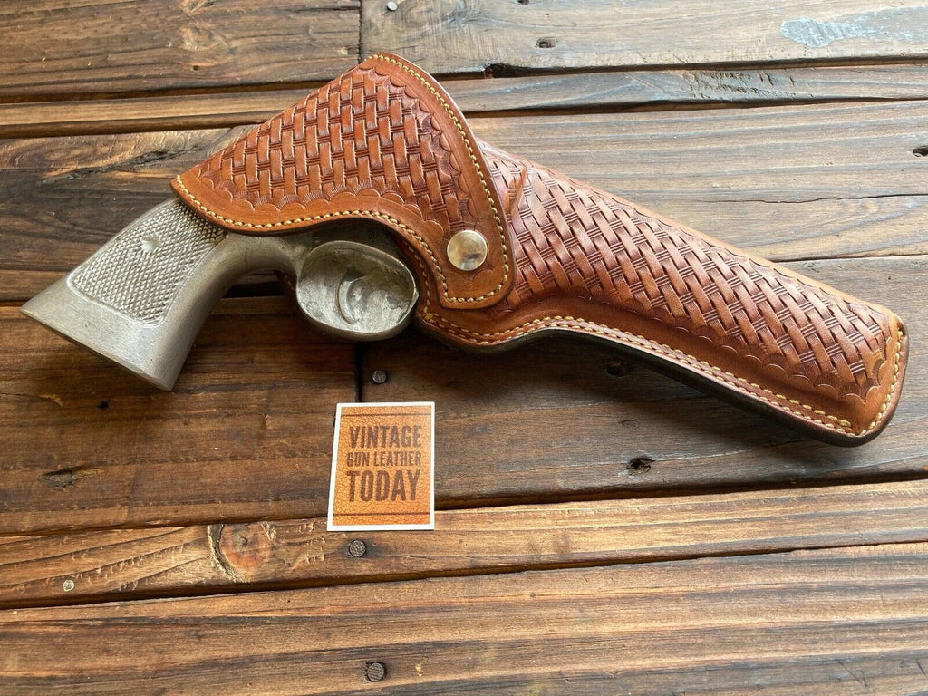 Alfonsos Brown Basketweave Leather Flap Holster For S&W N Frame Model 29 6""