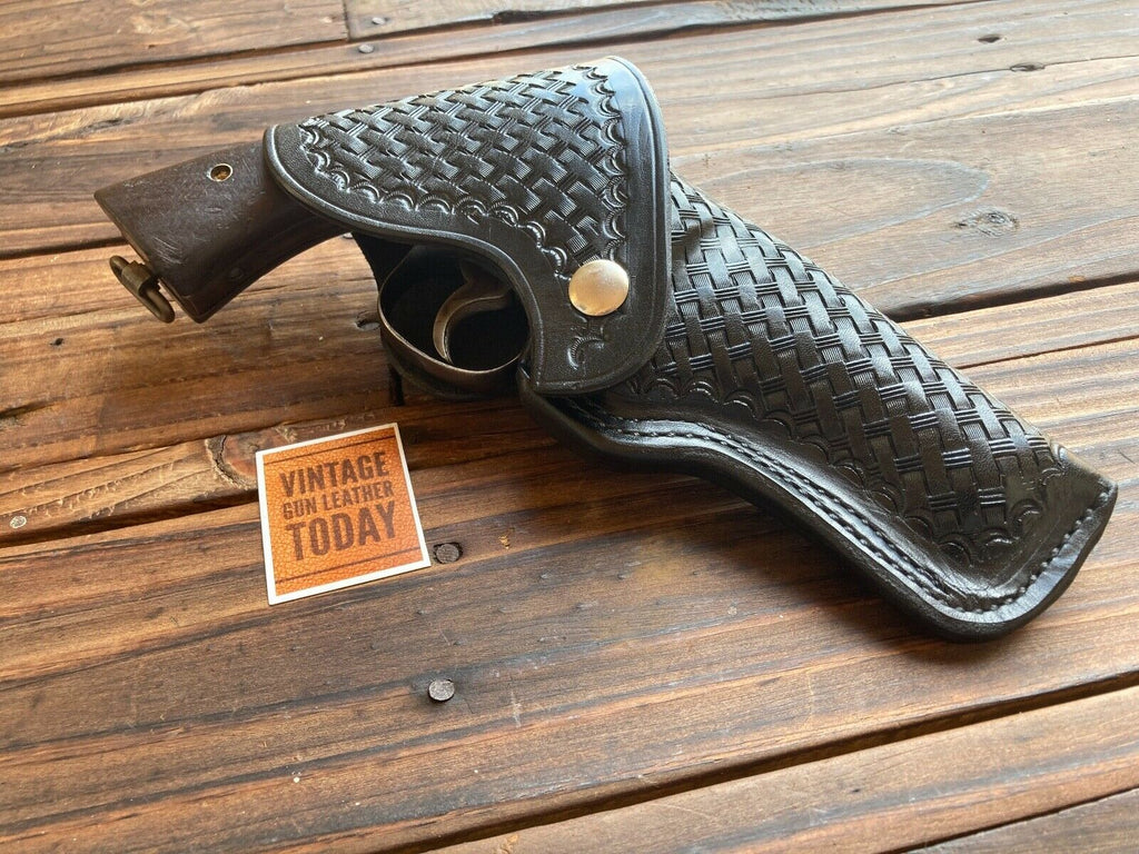 Alfonso's Black Basketweave Leather Flap Holster For S&W Model 10 K Revolver