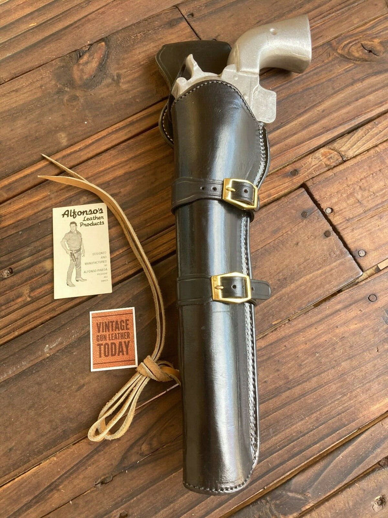 "Alfonso's Black Leather Suede Lined Western Holster for 10.5"" Ruger SA Revolver."