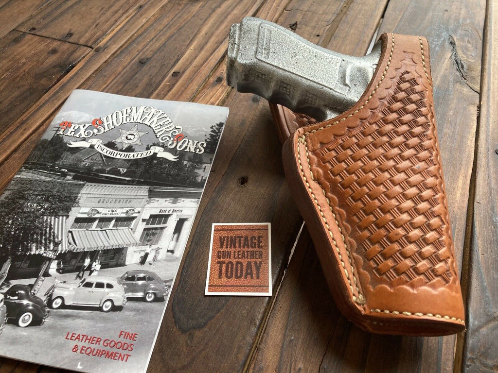 Tex Shoemaker Oil Tan Basketweave Leather Lined Holster For Glock 22 / 17