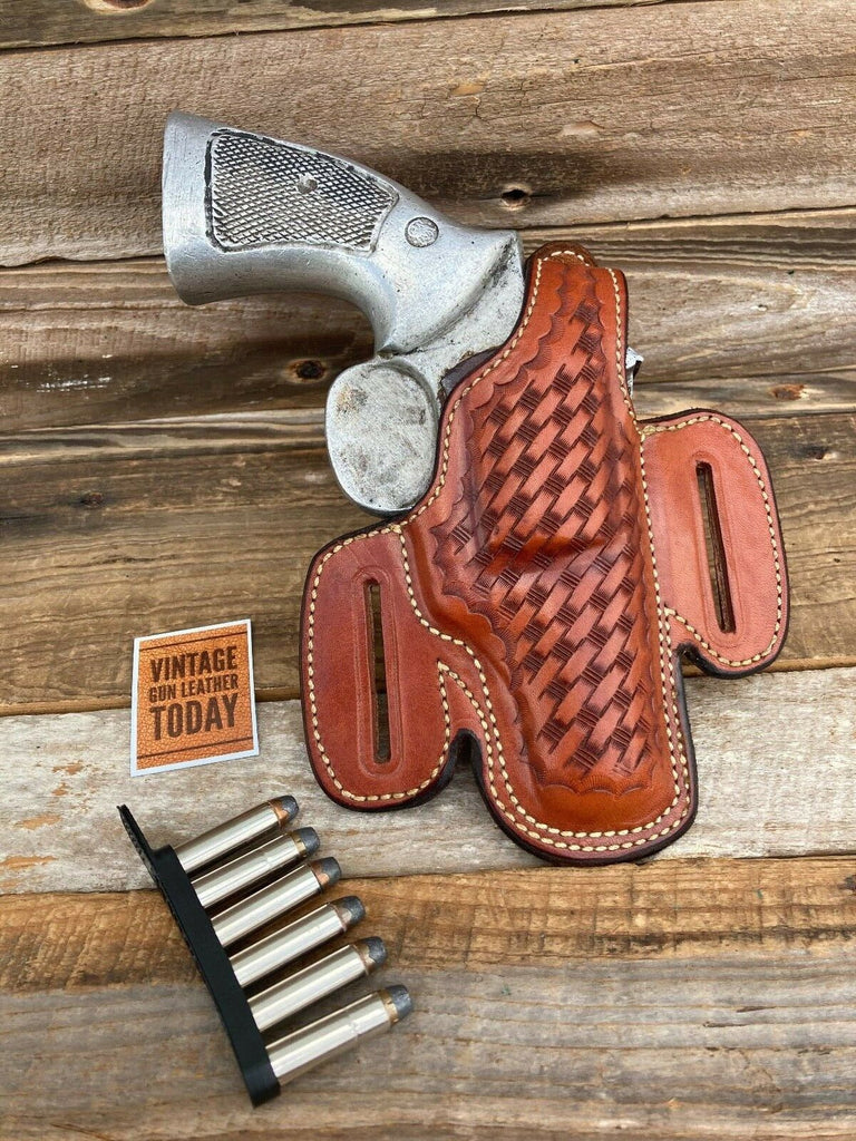Alfonso's Brown Basketweave Leather Suede Lined Holster for S&W K Frame 2 1/2""