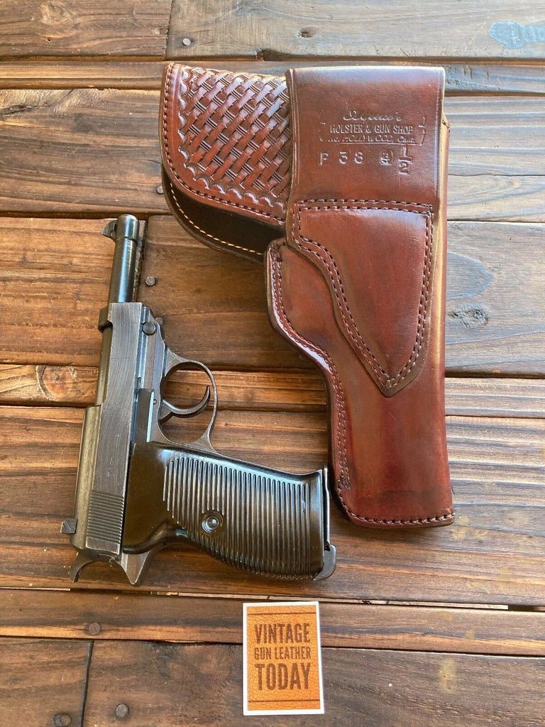 Alfonsos Brown Basketweave Suede Lined Flap Holster For Walther / Mauser P38