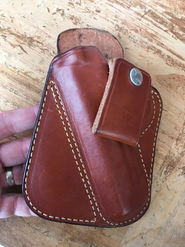 Vintage Alessi Brown Leather Small Of Back Holster for S&W Model 59 Left Draw
