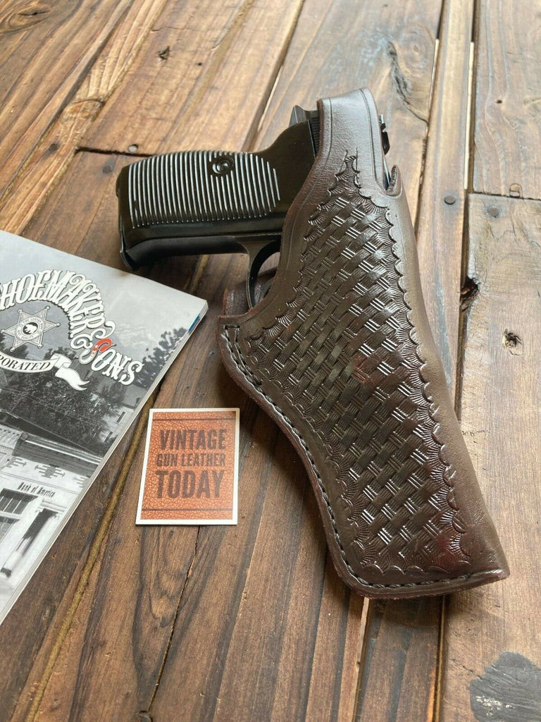 Vintage Tex Shoemaker Cordovan Brown Special Order OWB Holster for Walther P38