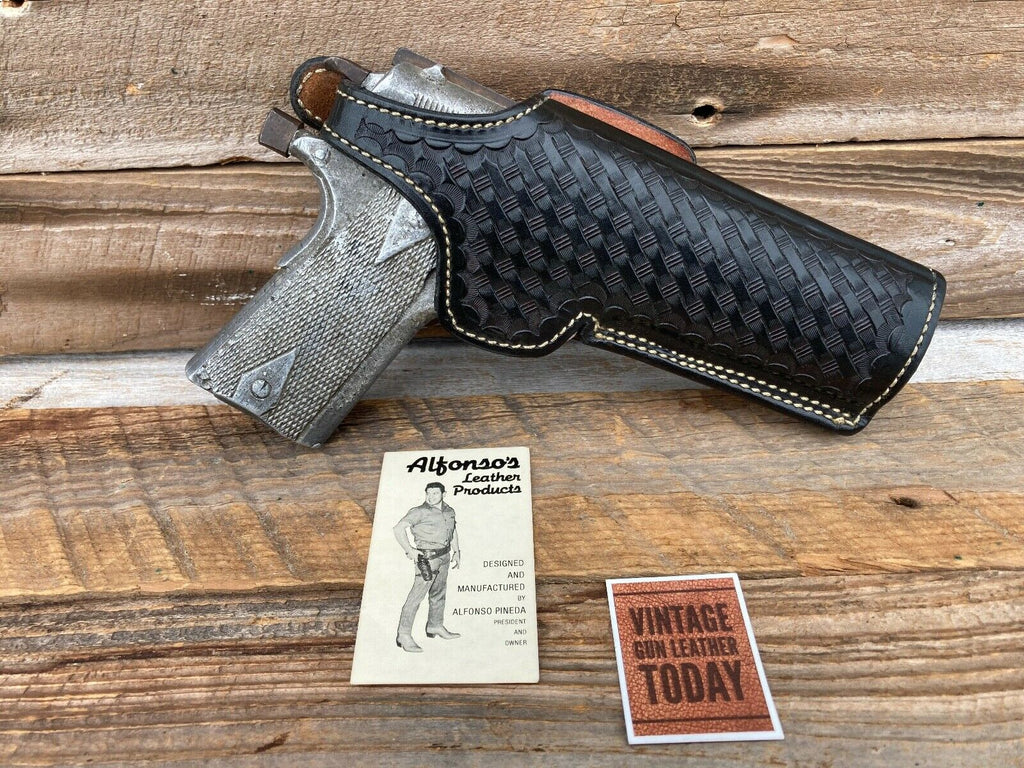 Alfonso's Black Basketweave Leather Lined Holster for 1911 Strong or Cross Draw