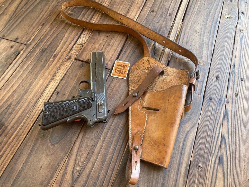 Original WW2 Karl Kuntze Penig Bring Back Shoulder Hi Power 1911 Holster Radom