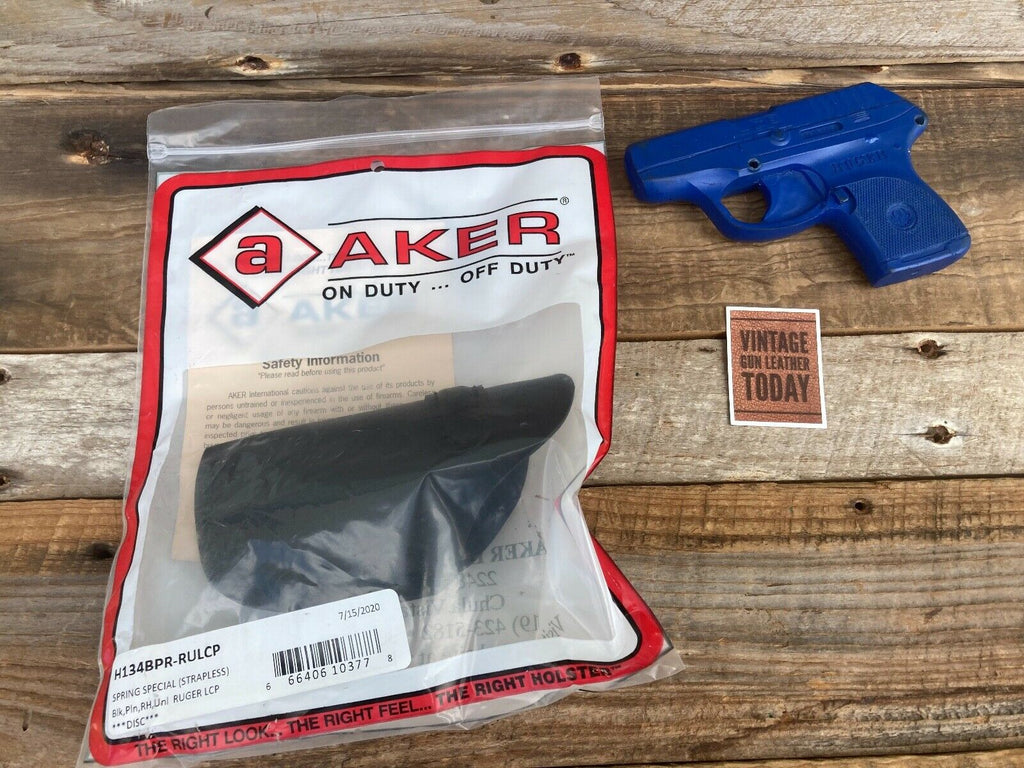 AKER Discontinued Black Leather IWB Spring Special Holster For Ruger LCP