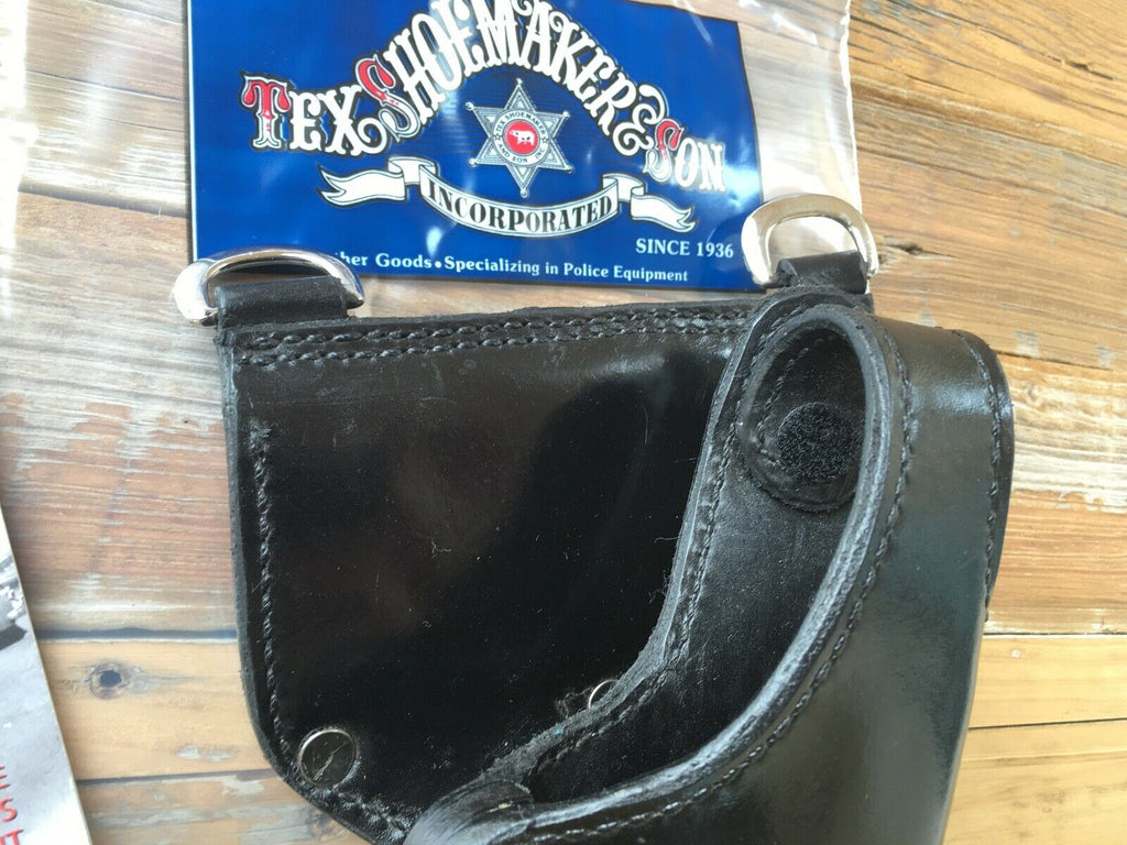 Tex Shoemaker Black Leather Duty Holster W/ Nickel Sam Browne D Rings For XD 45