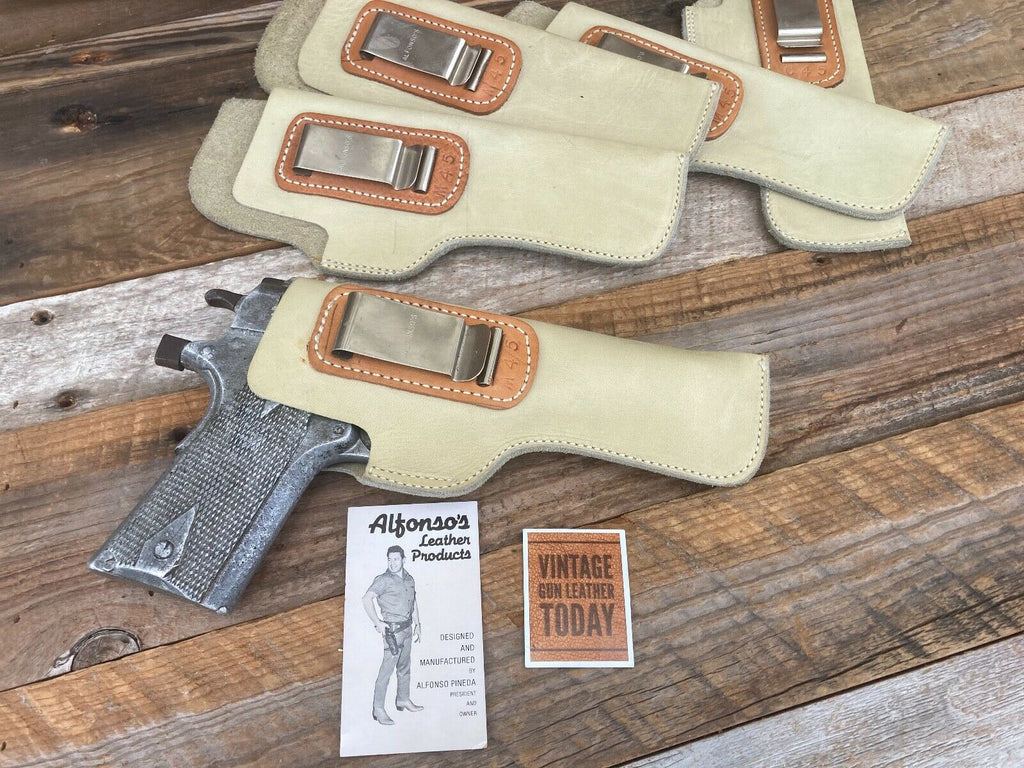 Alfonso's White Leather IWB Holster for Colt 1911 .45 Government / Hi Power