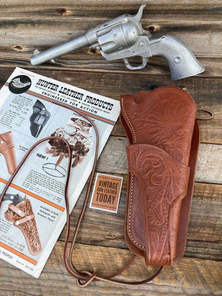 Hunter Brown Leather Floral Stamped Texas Jockstrap SA army Revolver Holster 5.5