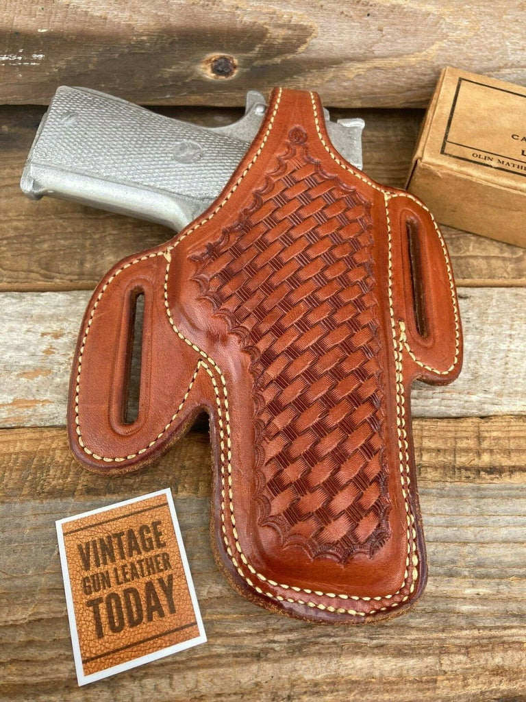 Alfonso's Brown Basketweave Leather Lined Holster for Colt Commander .45 Right