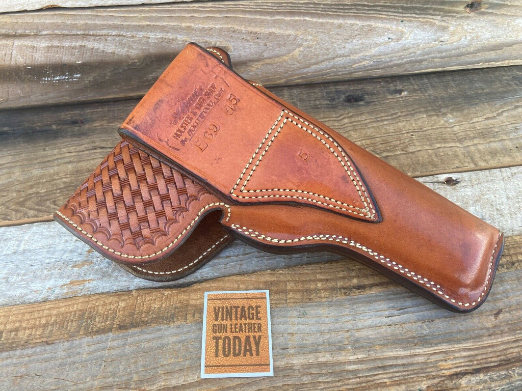 Alfonsos Brown Basketweave Suede Lined Flap Holster For Colt .45 1911 Hi Power