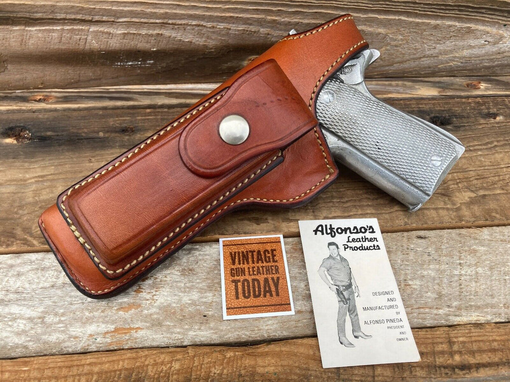 Alfonsos Brown Leather Holster Magazine Holder For Colt Government 45 1911 LEFT
