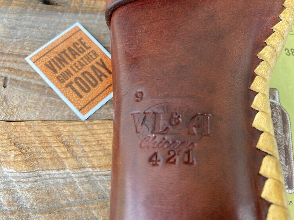 Vintage HH Heiser VL&A Brown Leather Holster Rawhide Laced For .22 Auto