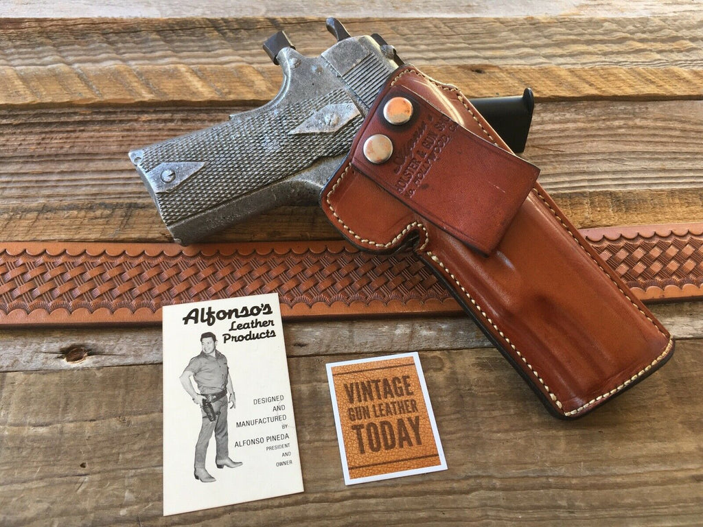 Vintage Alfonso's Brown Leather Sued Lined Holster for Colt .45 1911 Government
