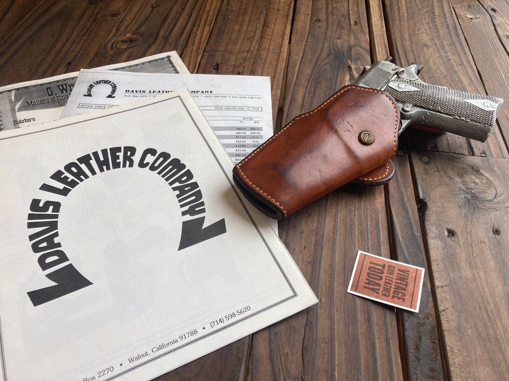 Vintage Davis Brown Leather 14450 T Omega Holster Left Draw For Colt .45 1911