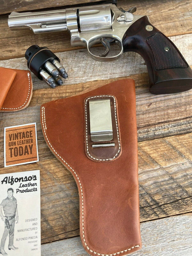 "Alfonsos Leather IWB Holster For S&W 4"" K Frame Medium Revolver Right Left SOB"