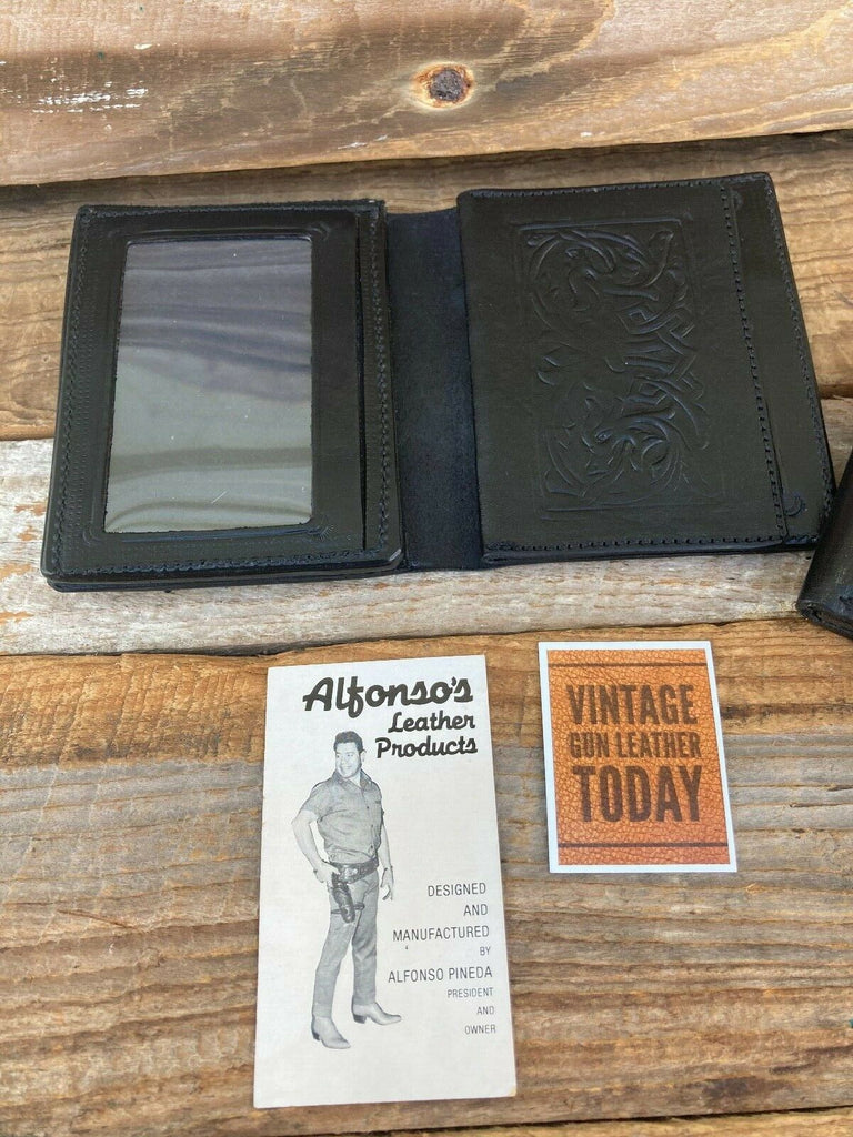 "Alfonso's Black Leather Police Sheriff Badge ID Wallet 6 Point Star 3"" x 2 3/4"""
