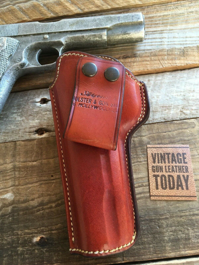 Vintage Alfonso's Brown Leather Sued Lined Holster for Colt 45 1911 Government Left