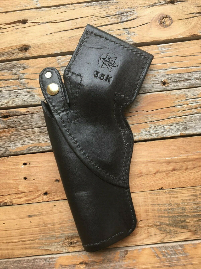 Vintage Tex Shoemaker Black Leather Border Style Revolver Holster For K Frame Revolver 4""