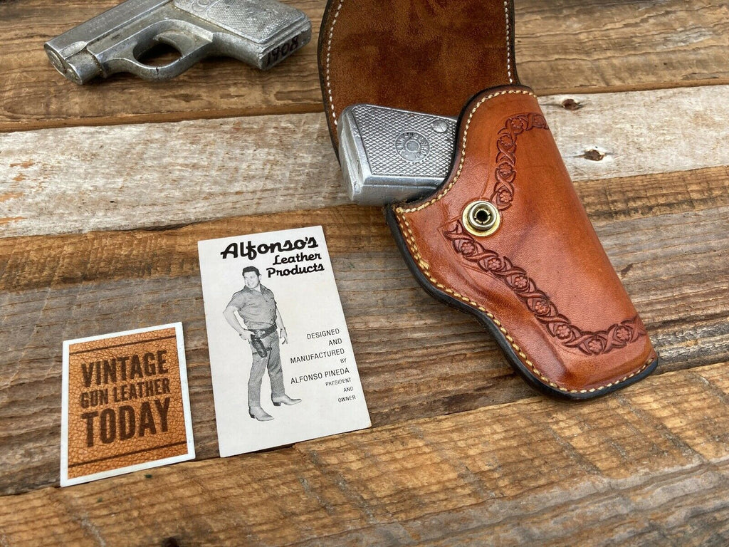 Alfonso's Brown Leather Suede Lined Flap Holster Border Stamped For .22 .25 Auto