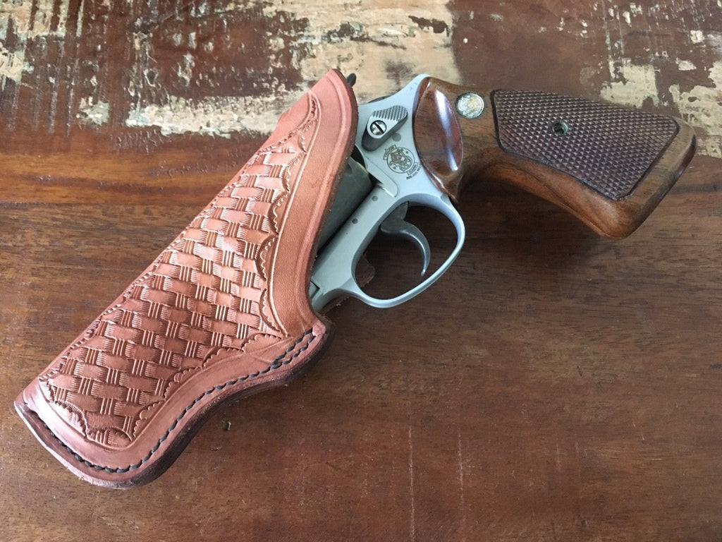 "Tex Shoemaker Brown Basketweave FBI Style Holster for 3"" S&W J Frame Revolver LEFT"