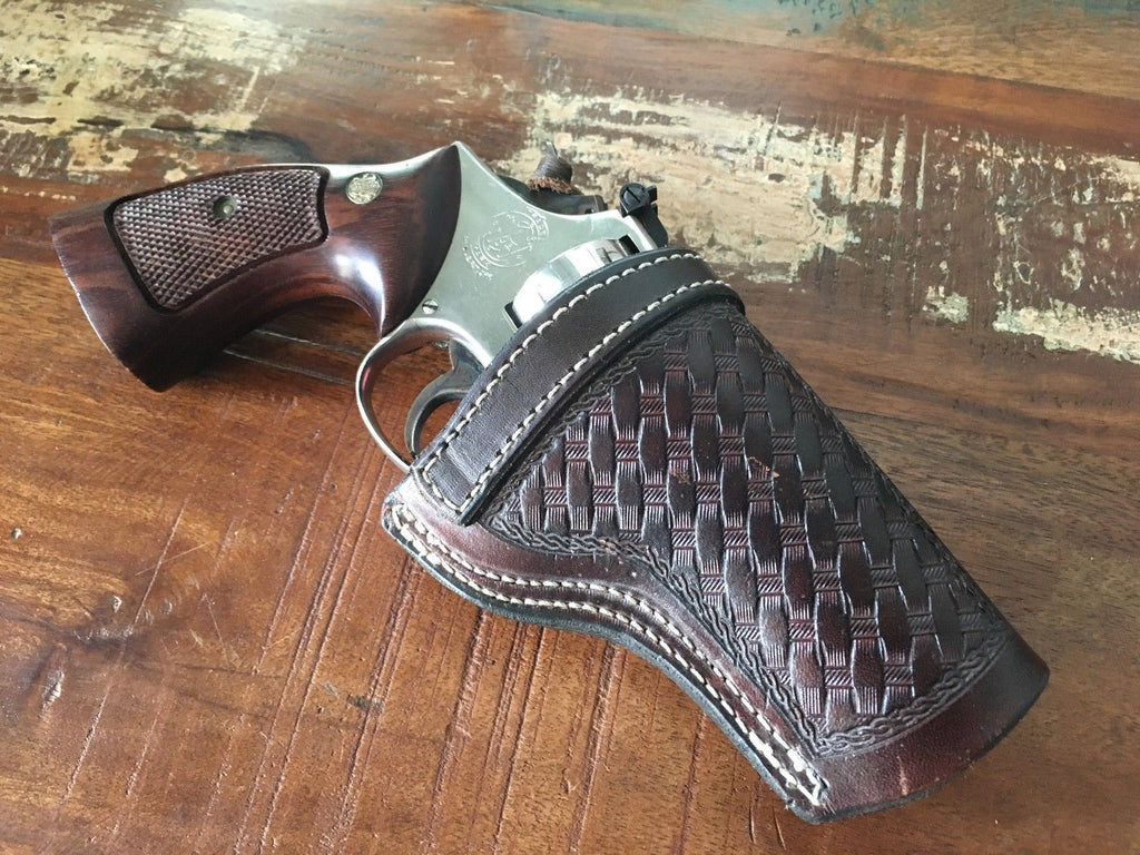 Vintage Brown Basketweave Leather IWB Holster For S&W Model 19 K Frame Revolver