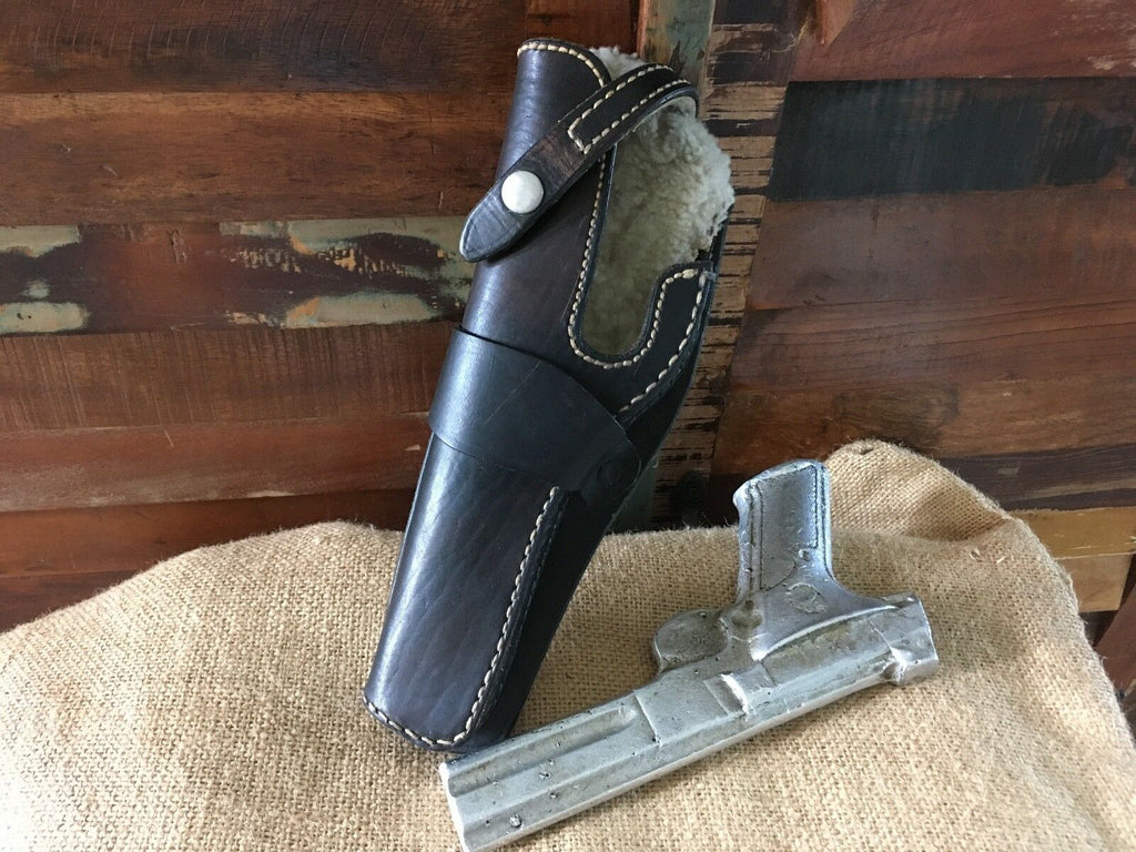 Vintage Leather Wool Lined OWB Holster .22 Auto Left Draw Woodsman Match