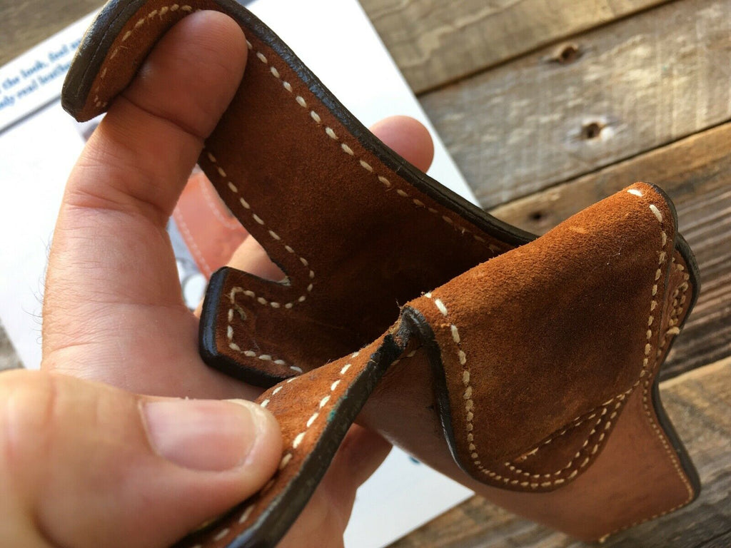 "Vintage Longhorn Leather Suede Lined 6"" Revolver Holster For 582 586 686 681"
