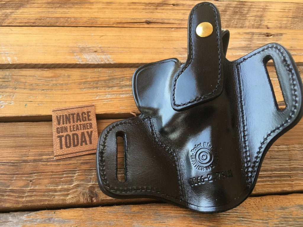 Vintage Point Blank Black Leather OWB Holster For Ruger S&W 2.75 Medium Revolver