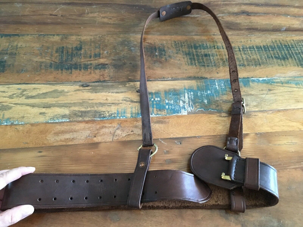 Vintage Brown Leather Sam Brown Style Belt Police Military