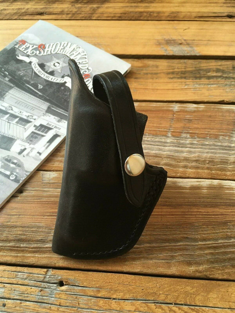 Vintage Tex Shoemaker 2S Black Leather OWB Holster for S&W Mod 36 Chief 2""