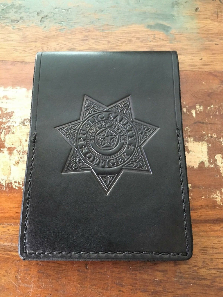 "Vintage Tex Shoemaker Alaska Public Safety Leather Note Pad Holder 4 5/8""x6 3/8"