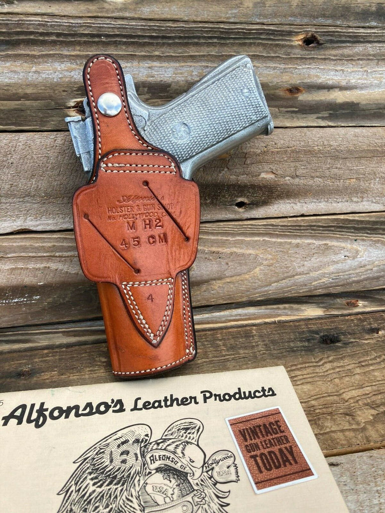 Vintage Alfonso's Brown Basketweave Leather Lined Holster For Colt Commander CD