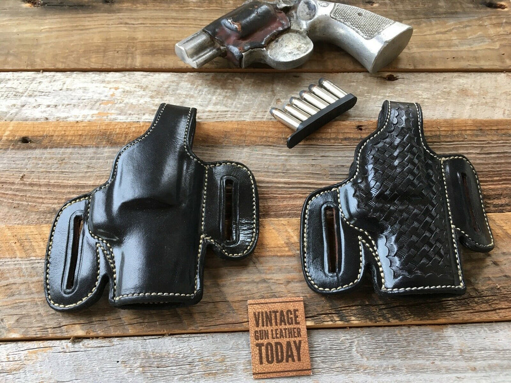 "Alfonso's F60 Black Leather Suede Lined Holster For Colt Python 2 1/2"" or S&W L Frame 2"" Revolvers"