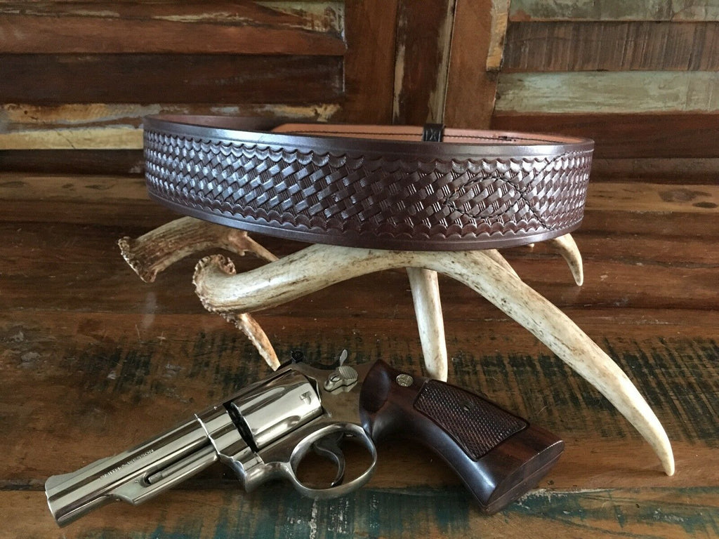 Tex Shoemaker Cordovan Brown Basketweave Leather Police Duty Belt Size 34
